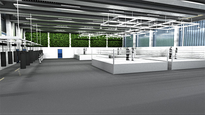 Innenansicht der Boxhalle am Olympiastützpunkt Heidelberg